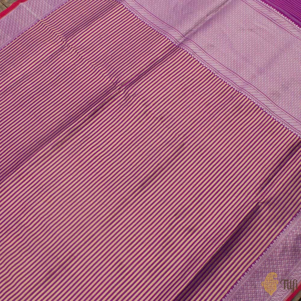 Purple-Red Pure Katan Silk Banarasi Handloom Saree