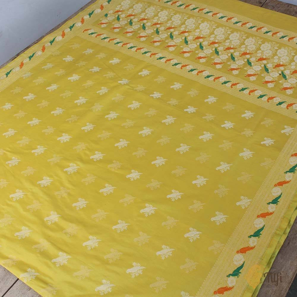 Lemon Yellow Pure Katan Silk Banarasi Handloom Saree