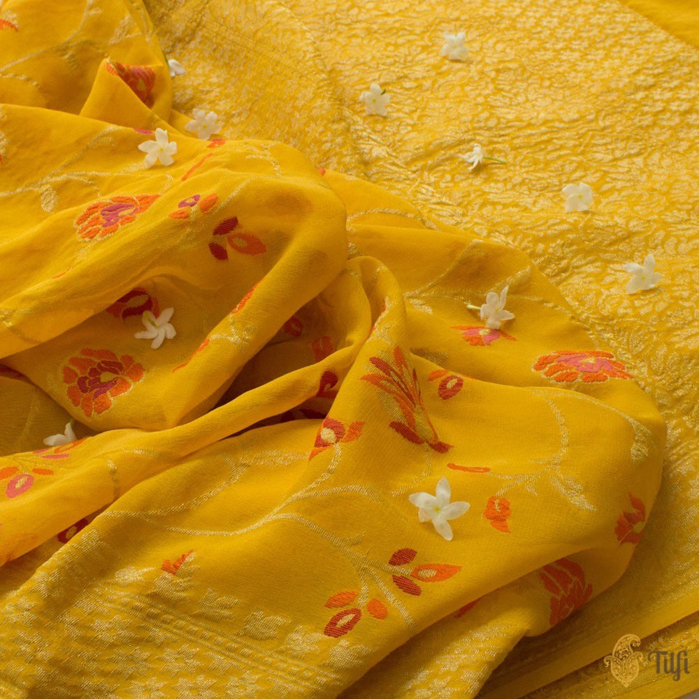Yellow Pure Khaddi Georgette Banarasi Handloom Saree