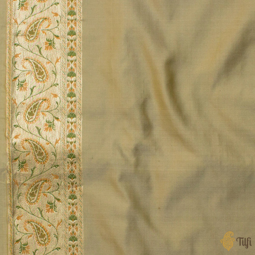 Beige Pure Soft Satin Silk Jamawar Banarasi Handloom Saree