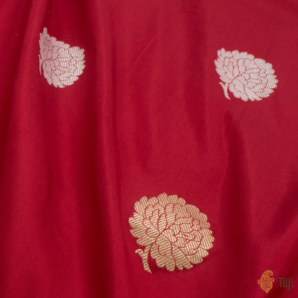 Deep Red Pure Katan Silk Handloom Banarasi Saree