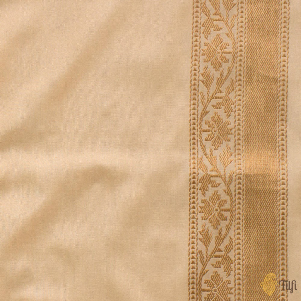 Cream Pure Katan Silk Ektara Banarasi Handloom Saree