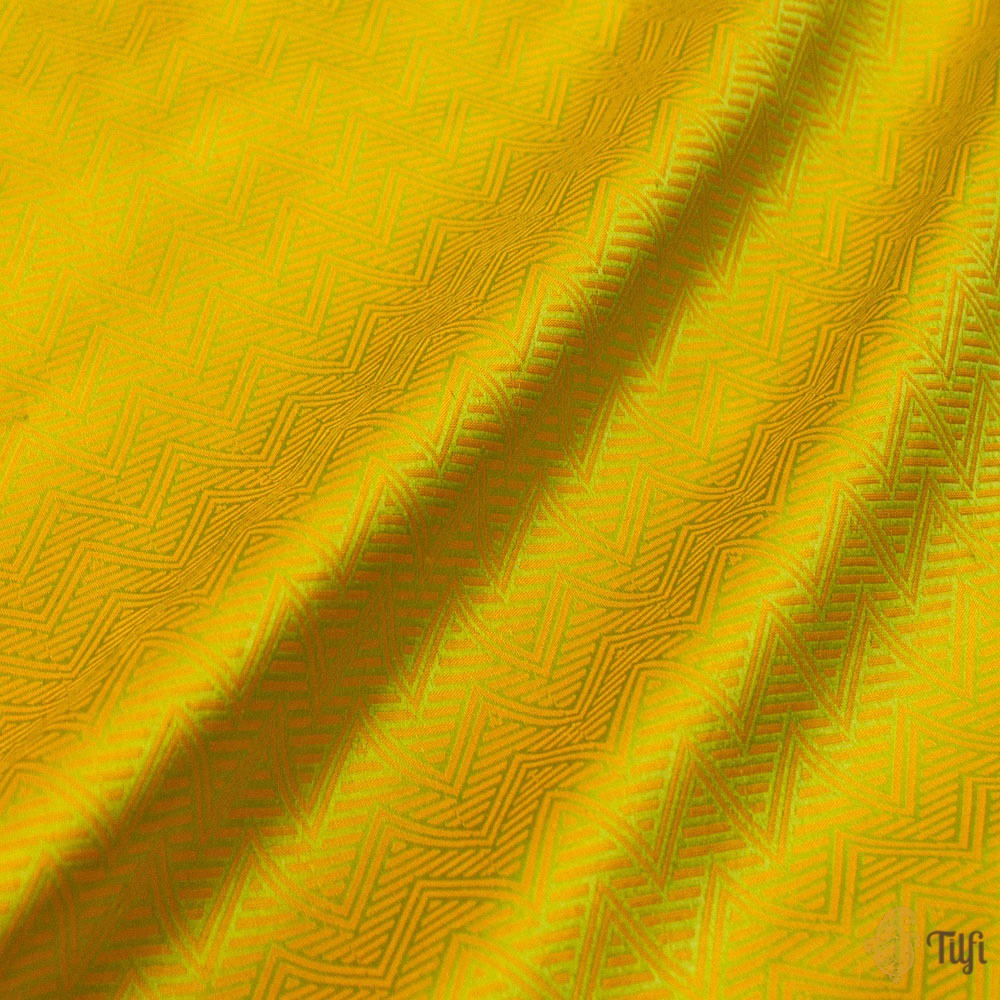 Yellow-Green Pure Katan Silk Banarasi Handloom Saree