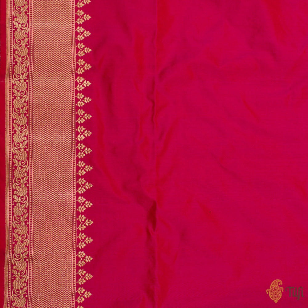 Red-Rani Pink Pure Katan Silk Handloom Banarasi Saree