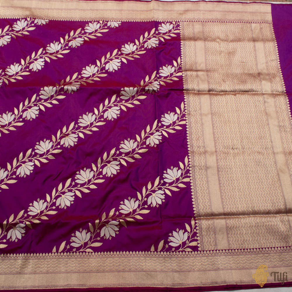 Burgundy-Purple Pure Katan Silk Banarasi Handloom Saree