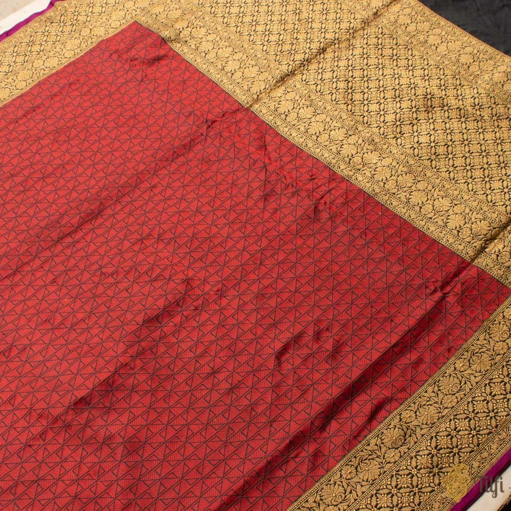 Black-Maroon Blue Pure Katan Silk Banarasi Handloom Saree