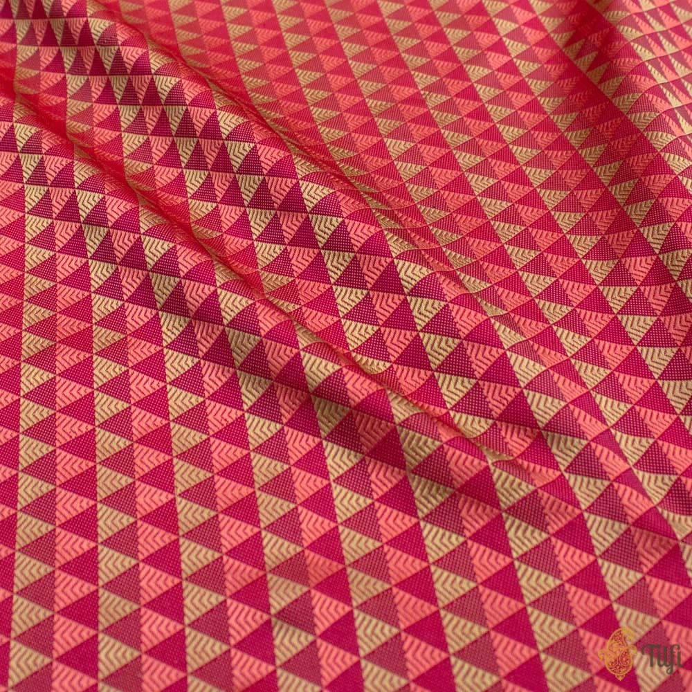 Red-Rani Pink Pure Katan Silk Banarasi Handloom Saree