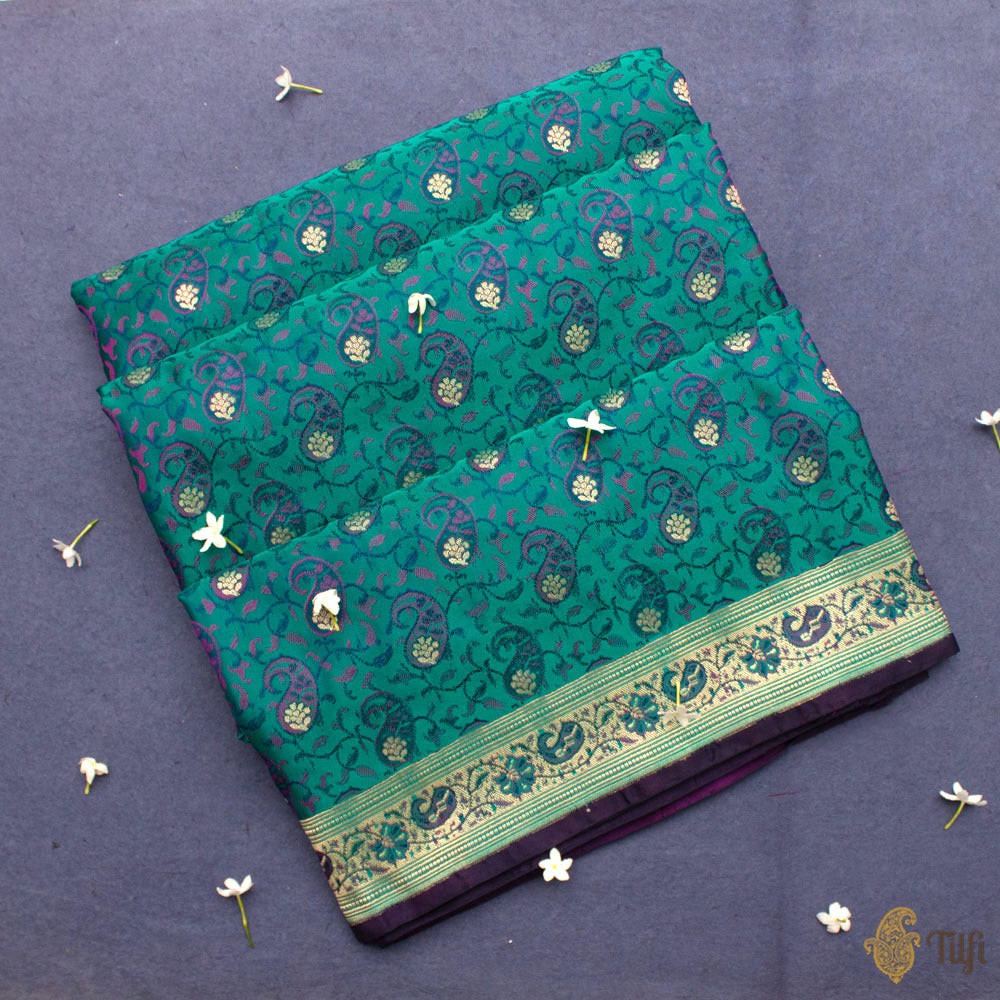 Rama Green Pure Soft Satin Silk Banarasi Handloom Saree