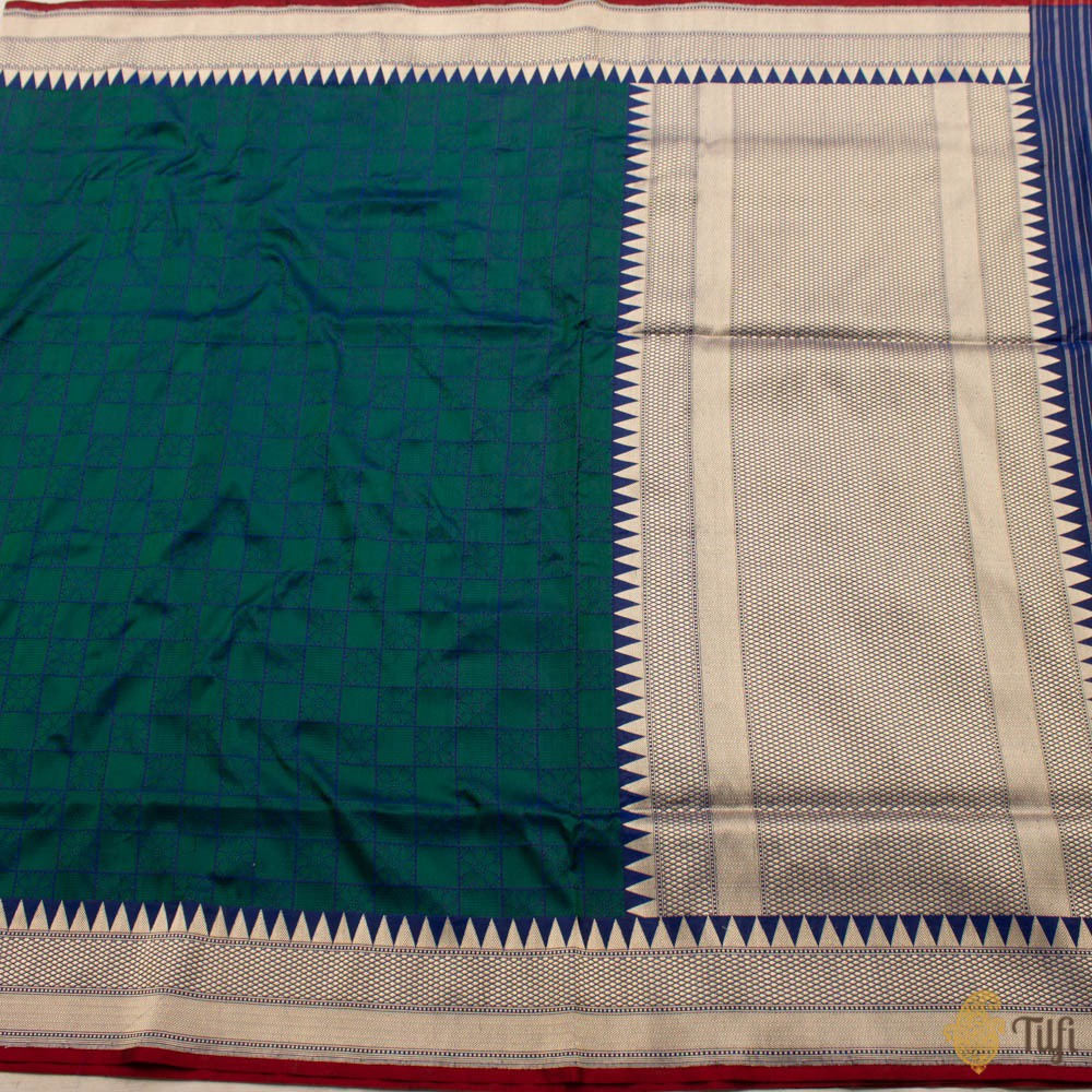 Blue-Green Pure Katan Silk Banarasi Handloom Saree