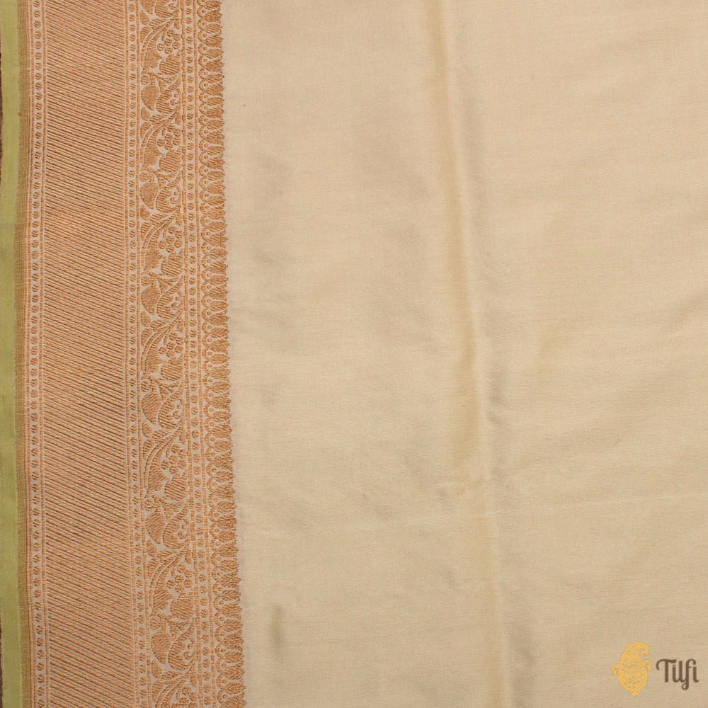 Light Green-Off-White Pure Katan Silk Banarasi Handloom Saree