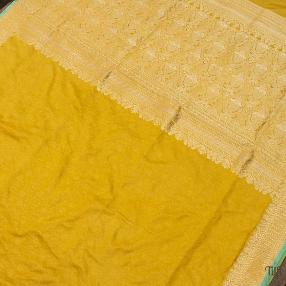 Yellow Pure Soft Satin Silk Banarasi Handloom Saree