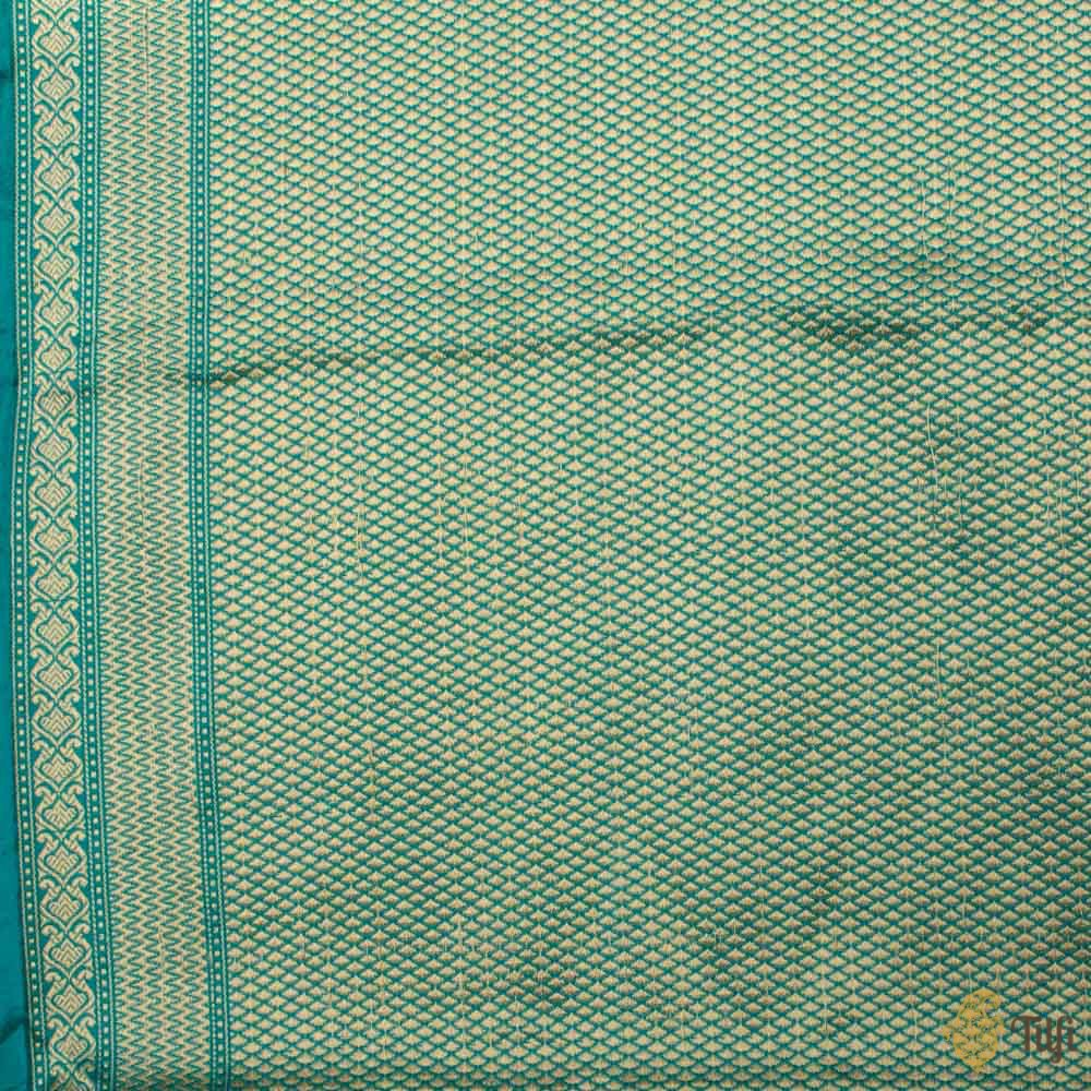 Green-Blue Pure Katan Silk Banarasi Handloom Saree