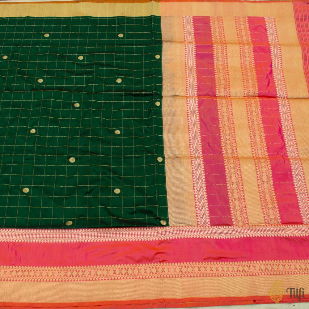 Dark Green-Pink Pure Katan Silk Banarasi Handloom Saree