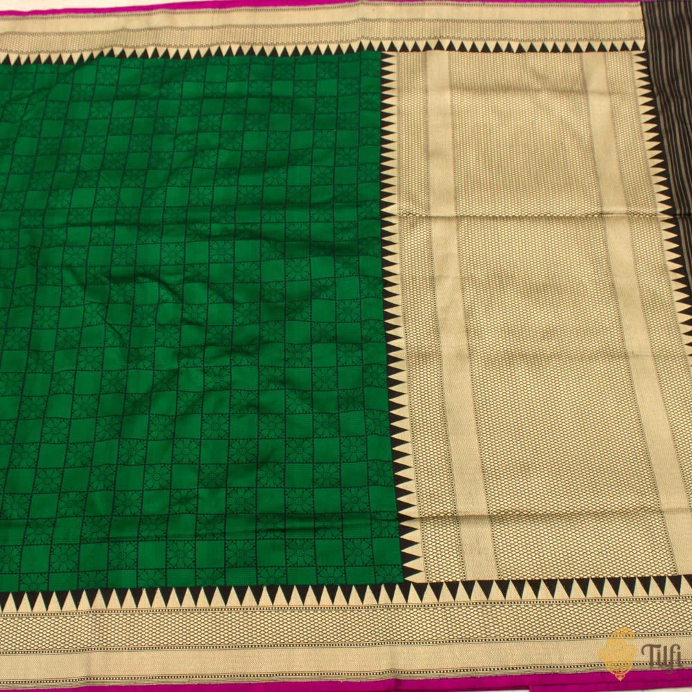 Black-Green Pure Katan Silk Banarasi Handloom Saree