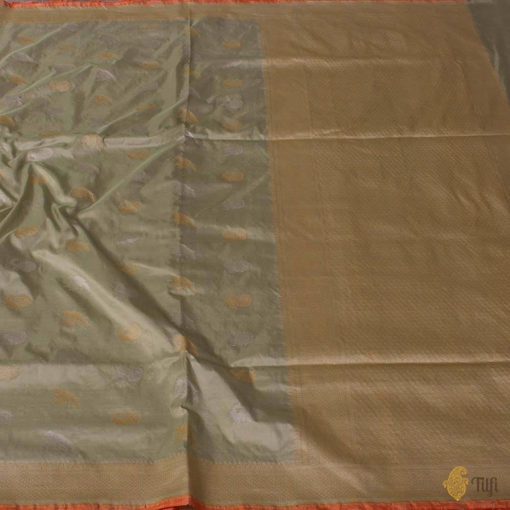 Soft Sage Green Pure Katan Silk Banarasi Handloom Saree