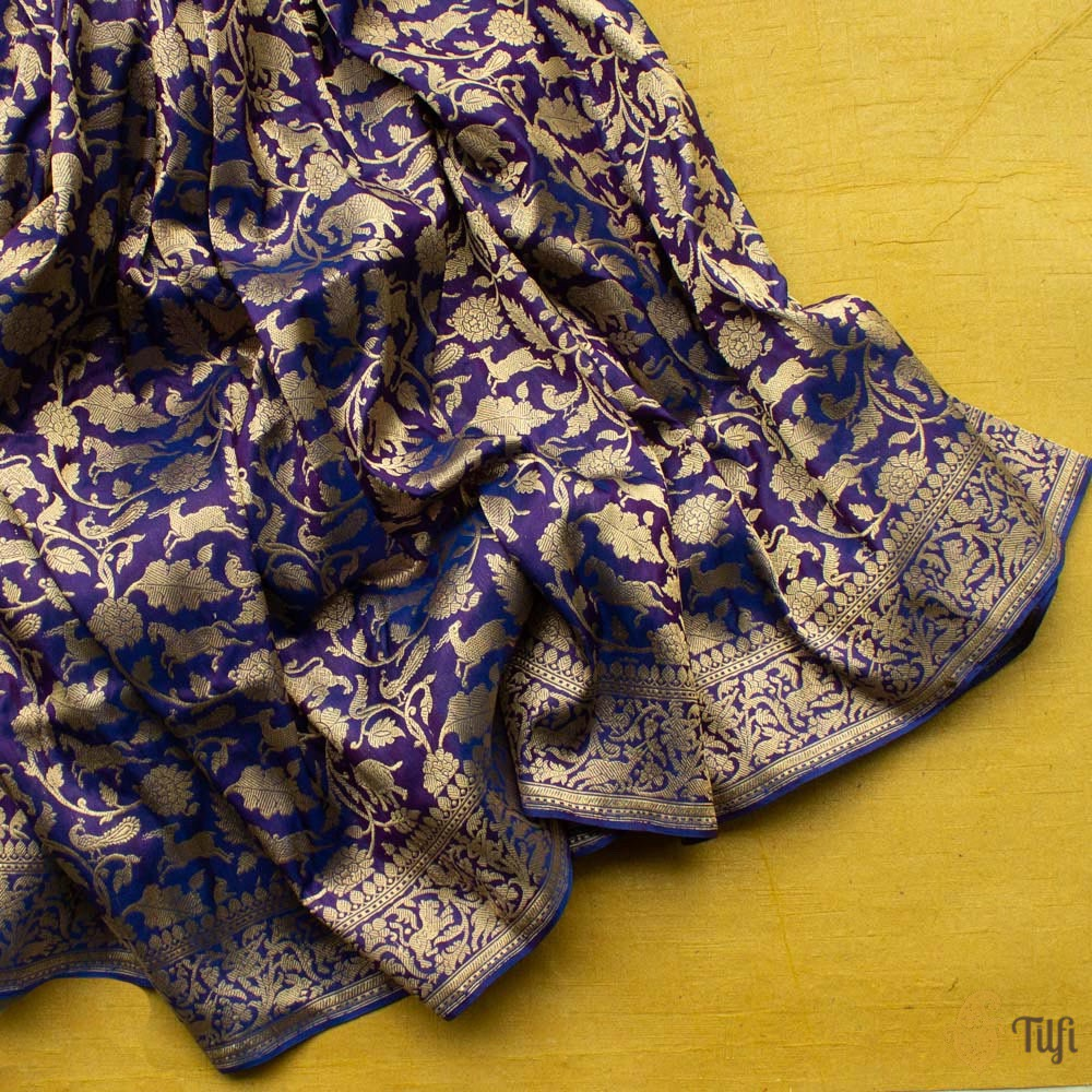 Pre-Order: Royal Blue-Purple Pure Katan Silk Banarasi Shikaargah Handloom Saree