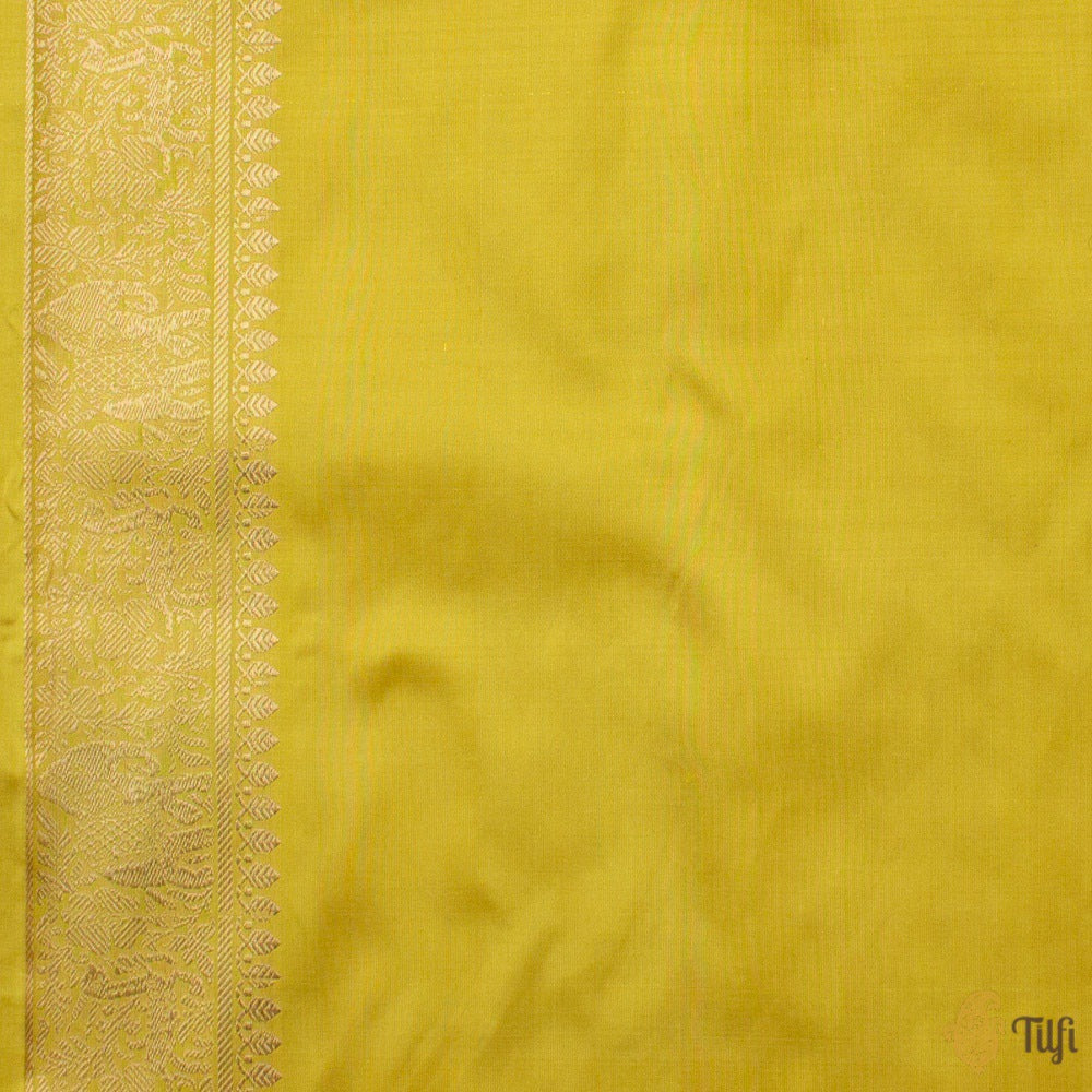 Lemon Yellow Pure Katan Silk Banarasi Shikaargah Handloom Saree