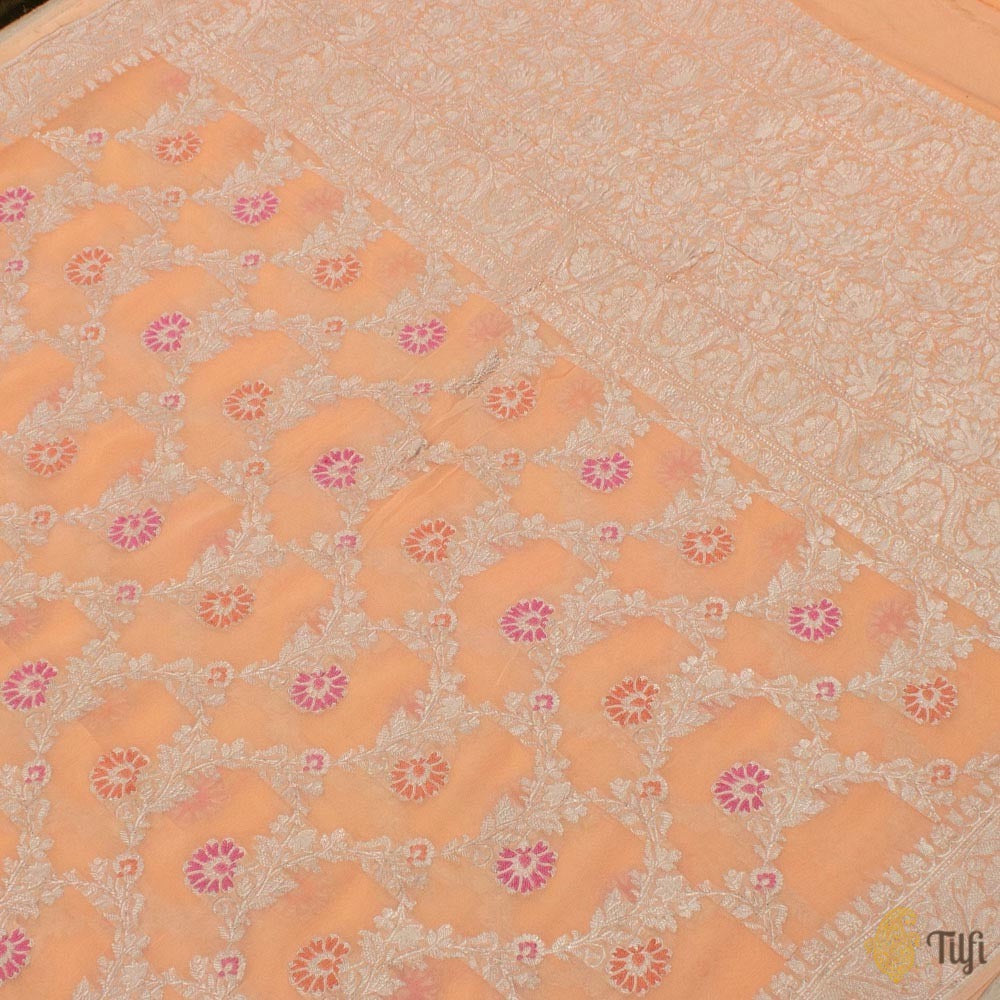 Light Peach Pure Khaddi Georgette Banarasi Handloom Saree