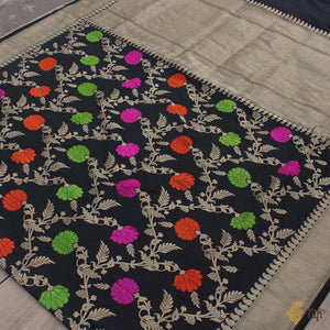Black Pure Katan Silk Banarasi Handloom Saree