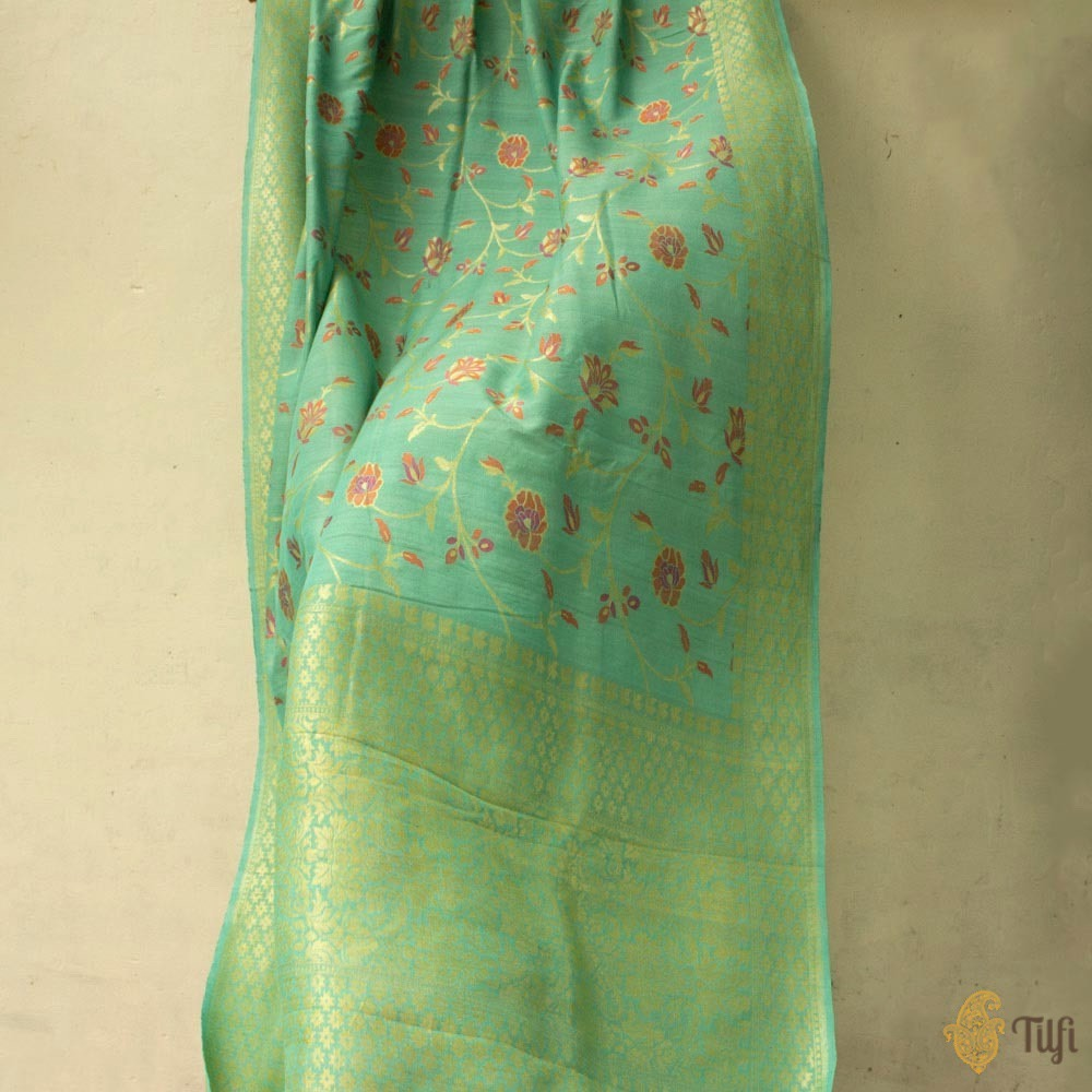 Light Blue Pure Tussar Georgette Silk Banarasi Handloom Saree