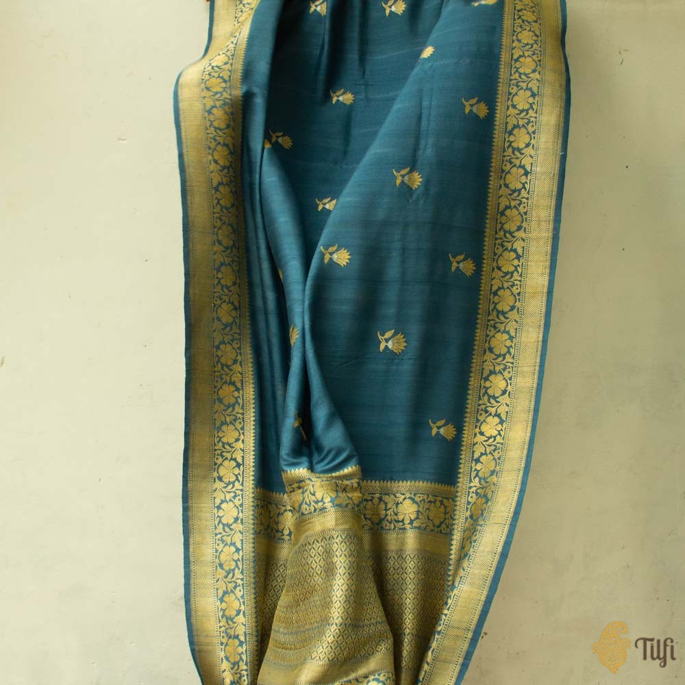 Prussian Blue Pure Tussar Georgette Silk Banarasi Handloom Saree