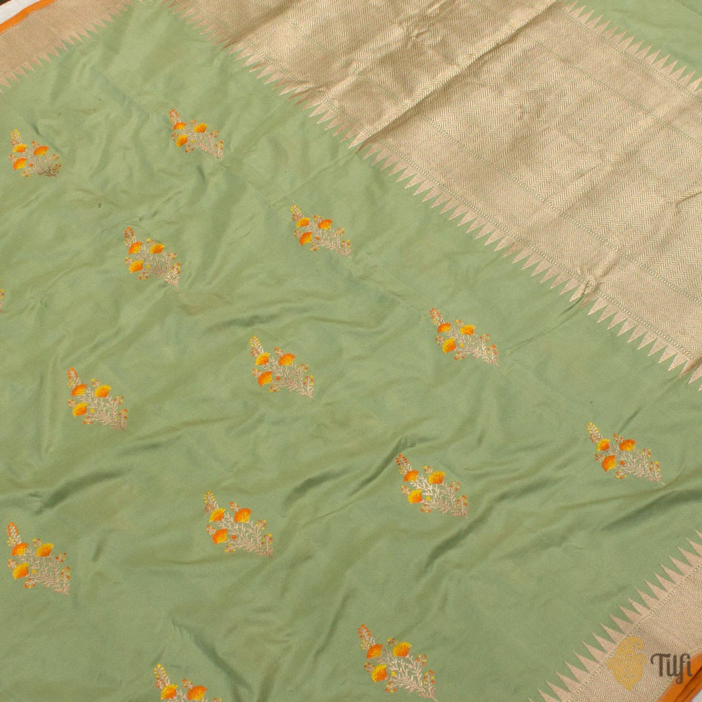 Sage Green Pure Katan Silk Banarasi Handloom Saree