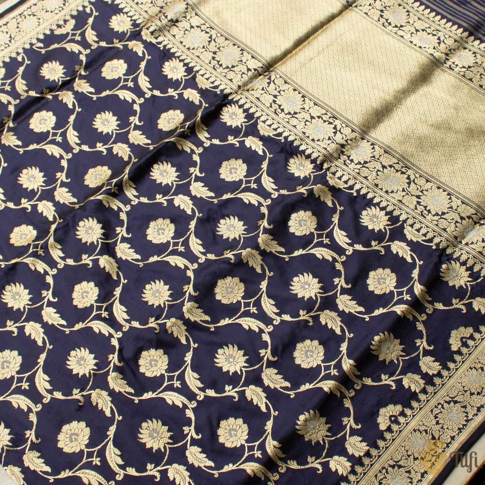Navy Blue Pure Katan Silk Kadwa Banarasi Handloom Saree