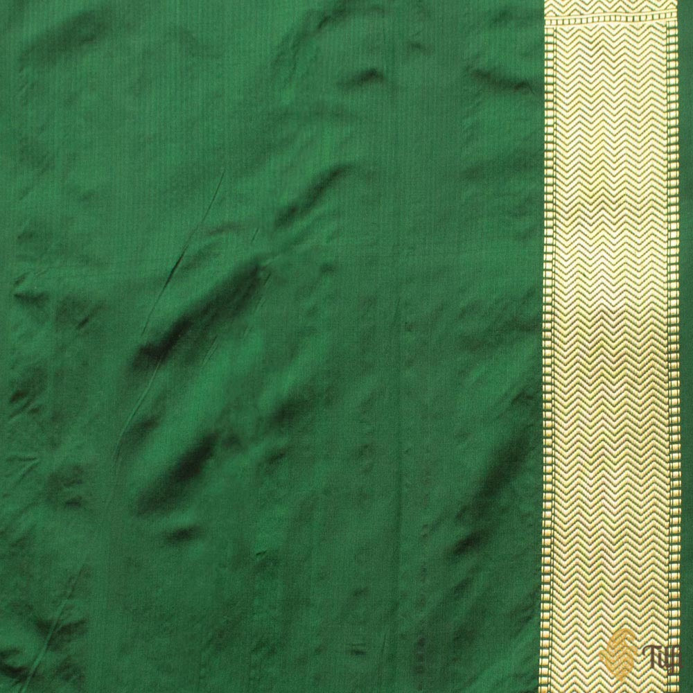 Dark Green Pure Katan Silk Banarasi Shikargah Handloom Saree