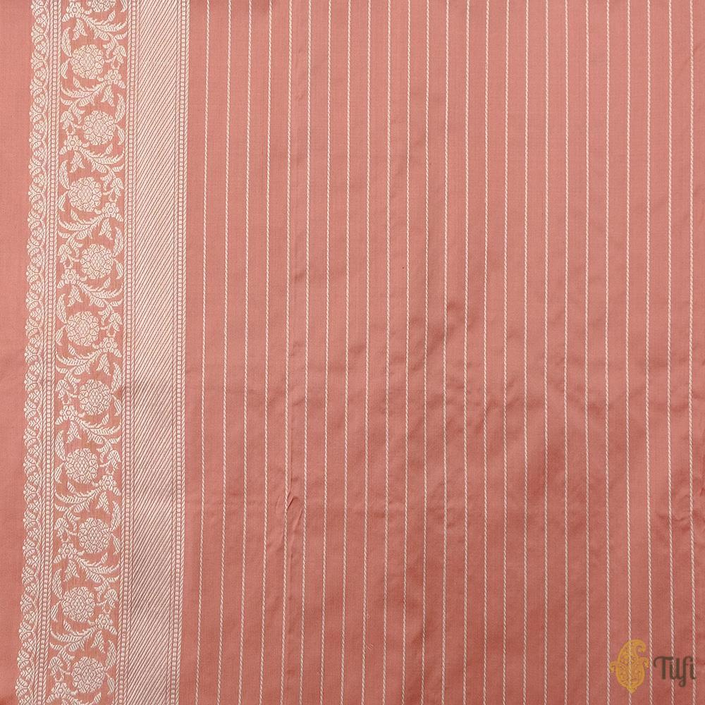 Dusty Rose Pink Pure Katan Silk Banarasi Handloom Saree