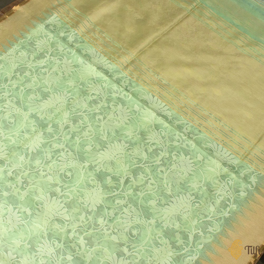 Mint Green Pure Kora Silk Net Banarasi Handloom Saree