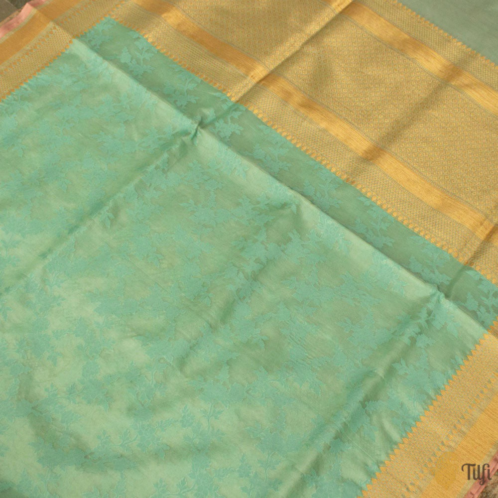 Mint Green Pure Kora Silk Banarasi Handloom Saree