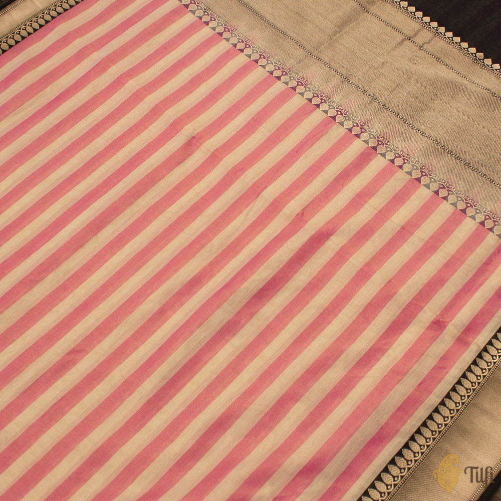 Off-White-Pink Pure Cotton Tissue Banarasi Handloom Saree