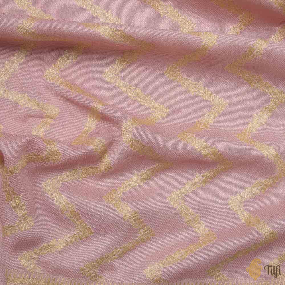 Rose Pink Pure Georgette Banarasi Handloom Saree