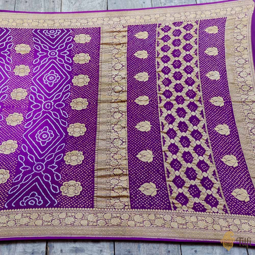 Deep Purple Pure Georgette Banarasi Bandhani Handloom Saree