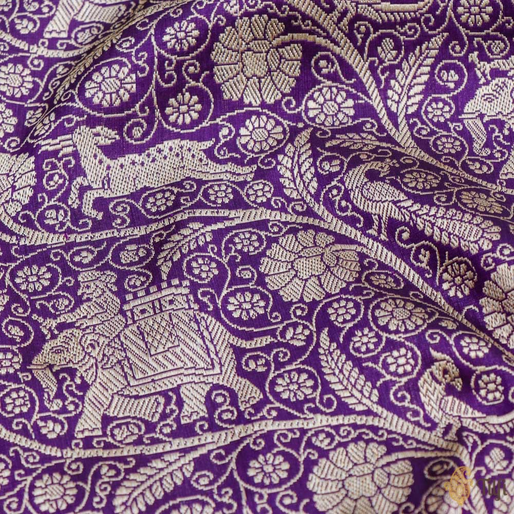 Deep Purple Pure Katan Silk Banarasi Shikargah Handloom Saree