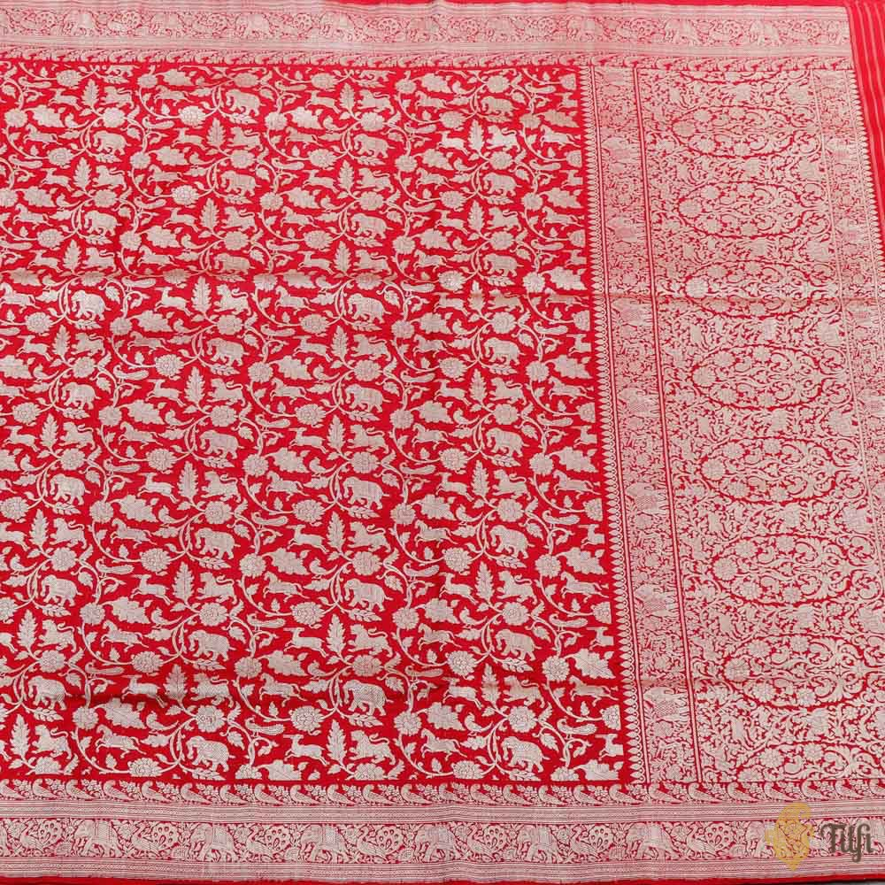 Red Pure Katan Silk Banarasi Shikaargah Handloom Saree