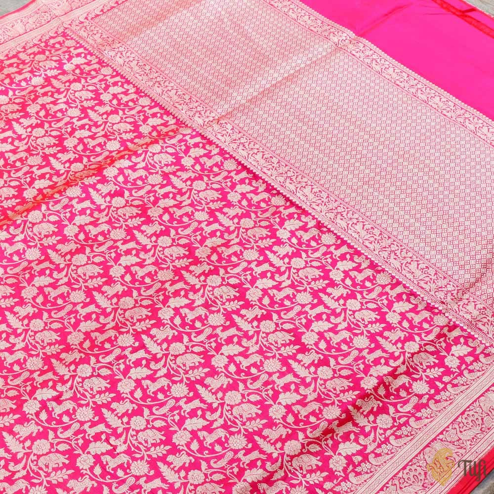 Orange-Pink Pure Katan Silk Banarasi Shikaargah Handloom Saree