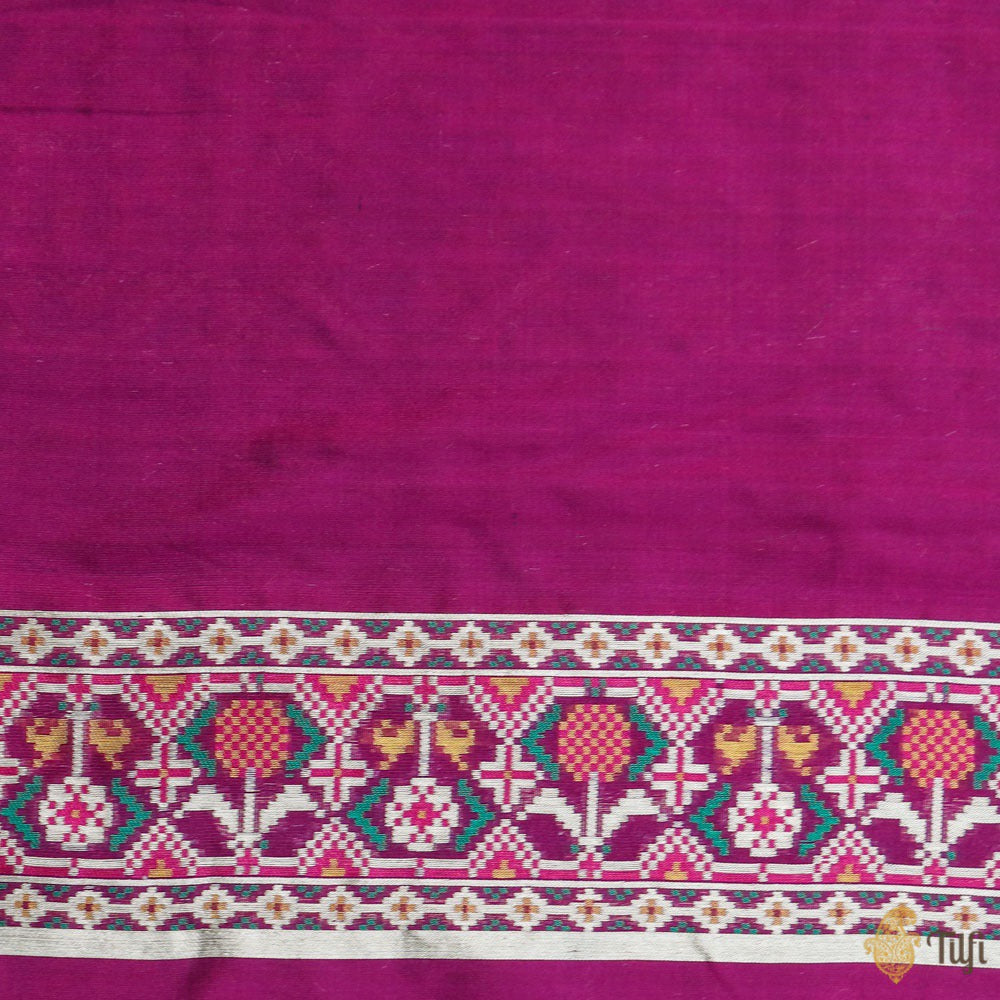 Deep Purple Pure Katan Silk Banarasi Handloom Patola Saree