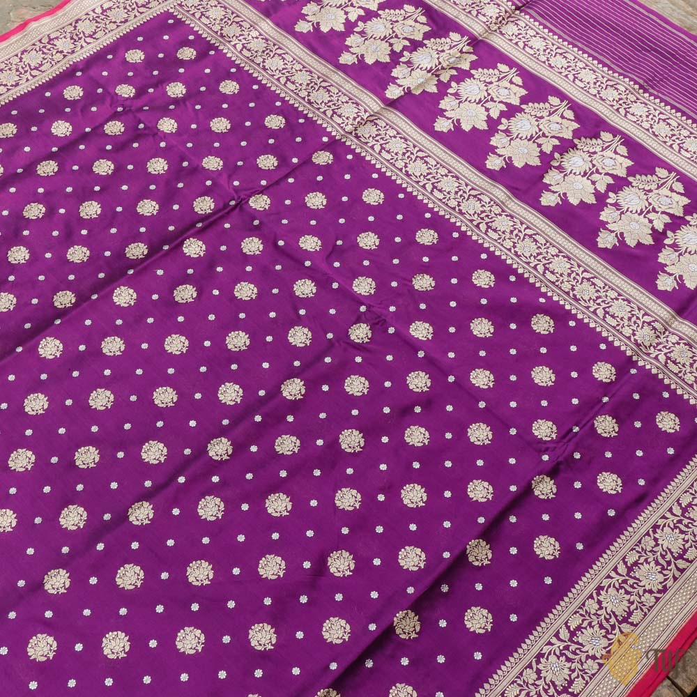 Deep Purple Pure Katan Silk Banarasi Handloom Saree