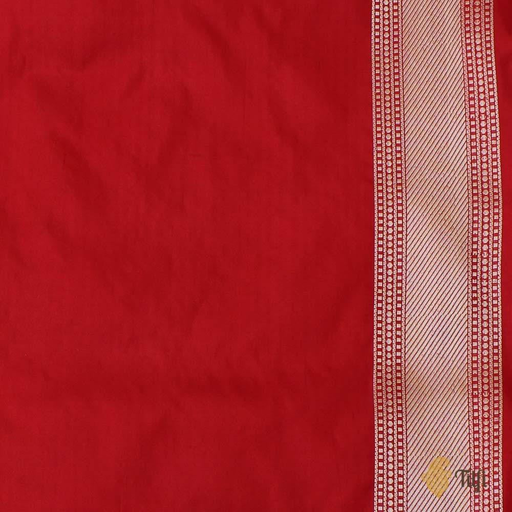 Off-White-Red Pure Katan Silk Banarasi Kadiyal Handloom Saree