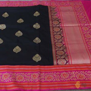 Black-Indian Pink Pure Katan Silk Banarasi Handloom Saree