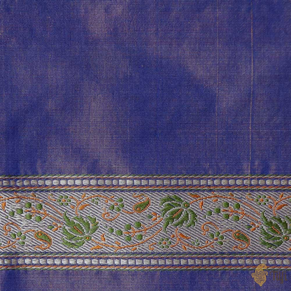 Blue Pure Soft Satin Silk Tanchoi Jamawar Banarasi Handloom Saree