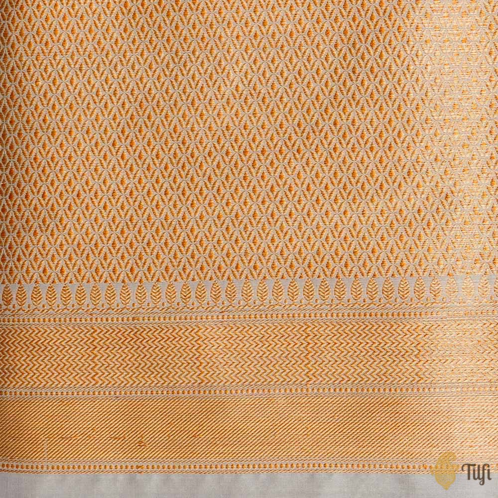 Blueish-Grey Pure Katan Silk Banarasi Handloom Saree