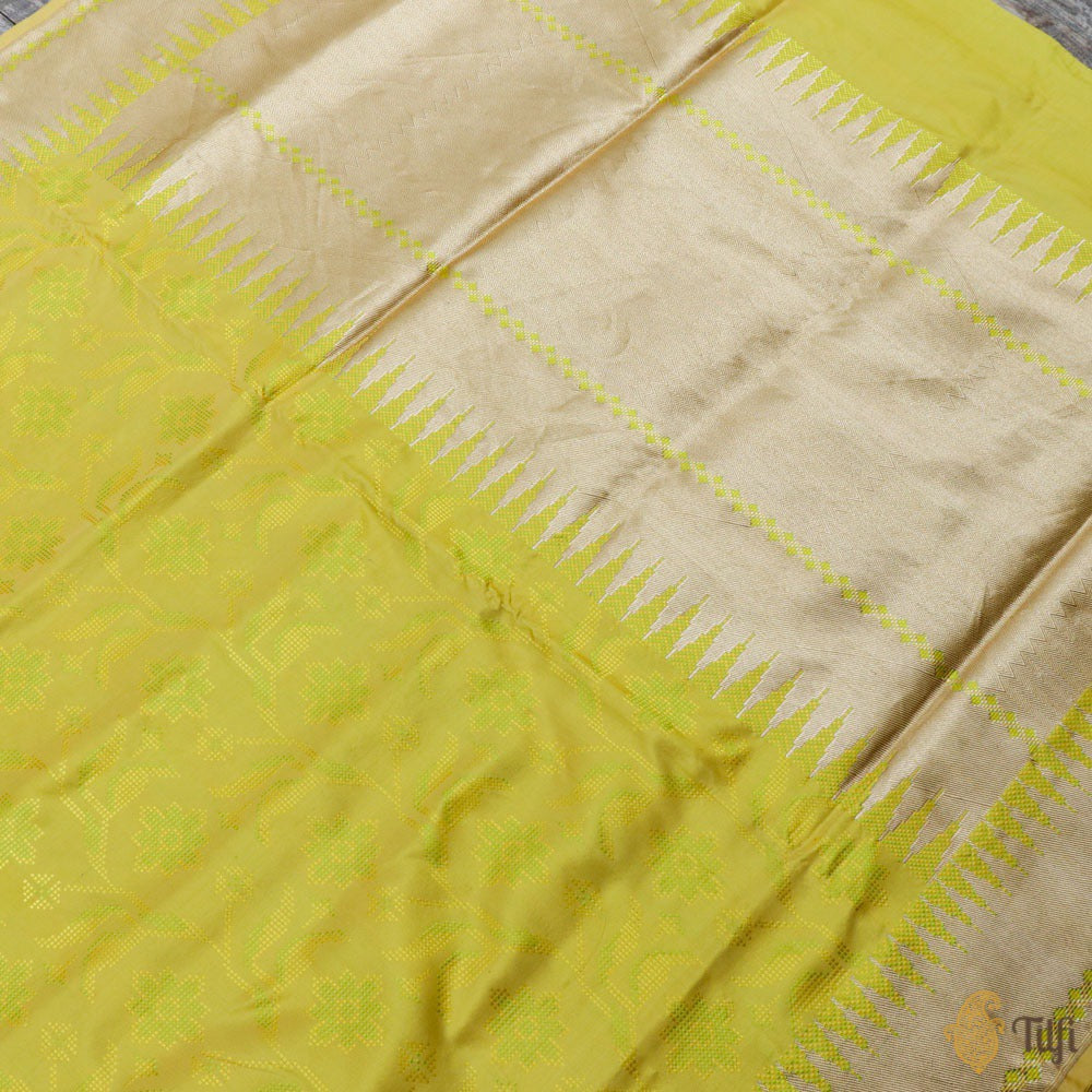 Lemon Green Pure Soft Satin Silk Banarasi Handloom Saree
