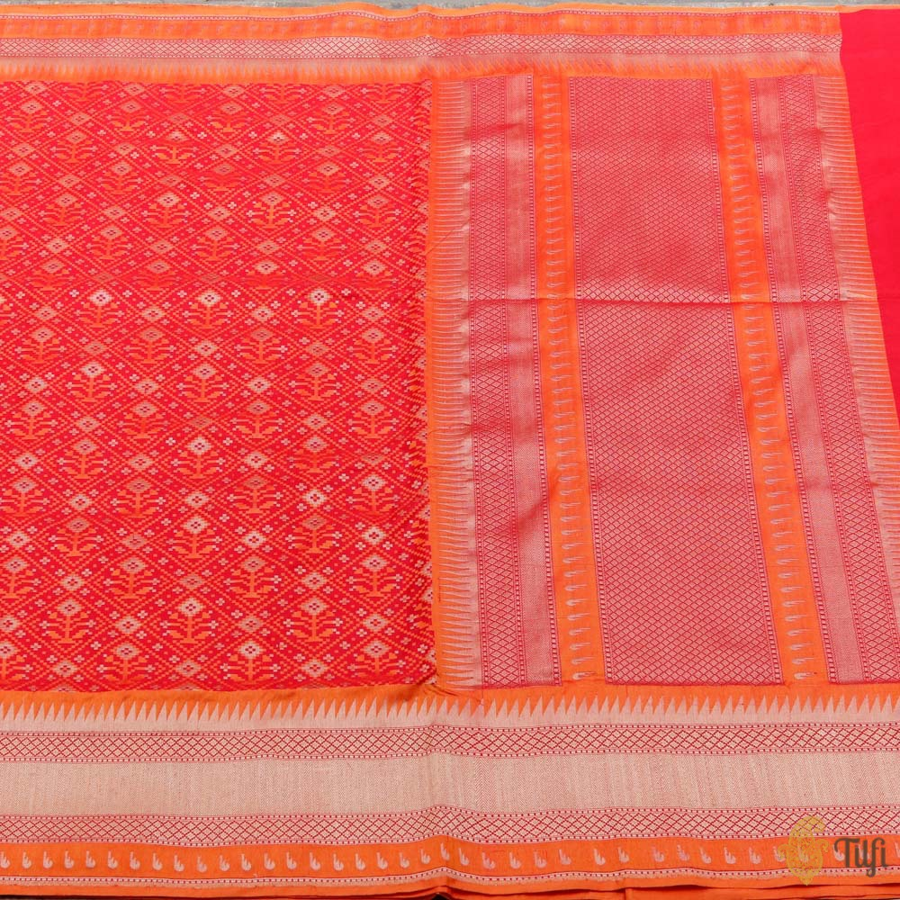 Red Pure Katan Silk Banarasi Handloom Patola Saree