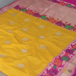 Yellow-Indian Pink Pure Katan Silk Banarasi Handloom Saree