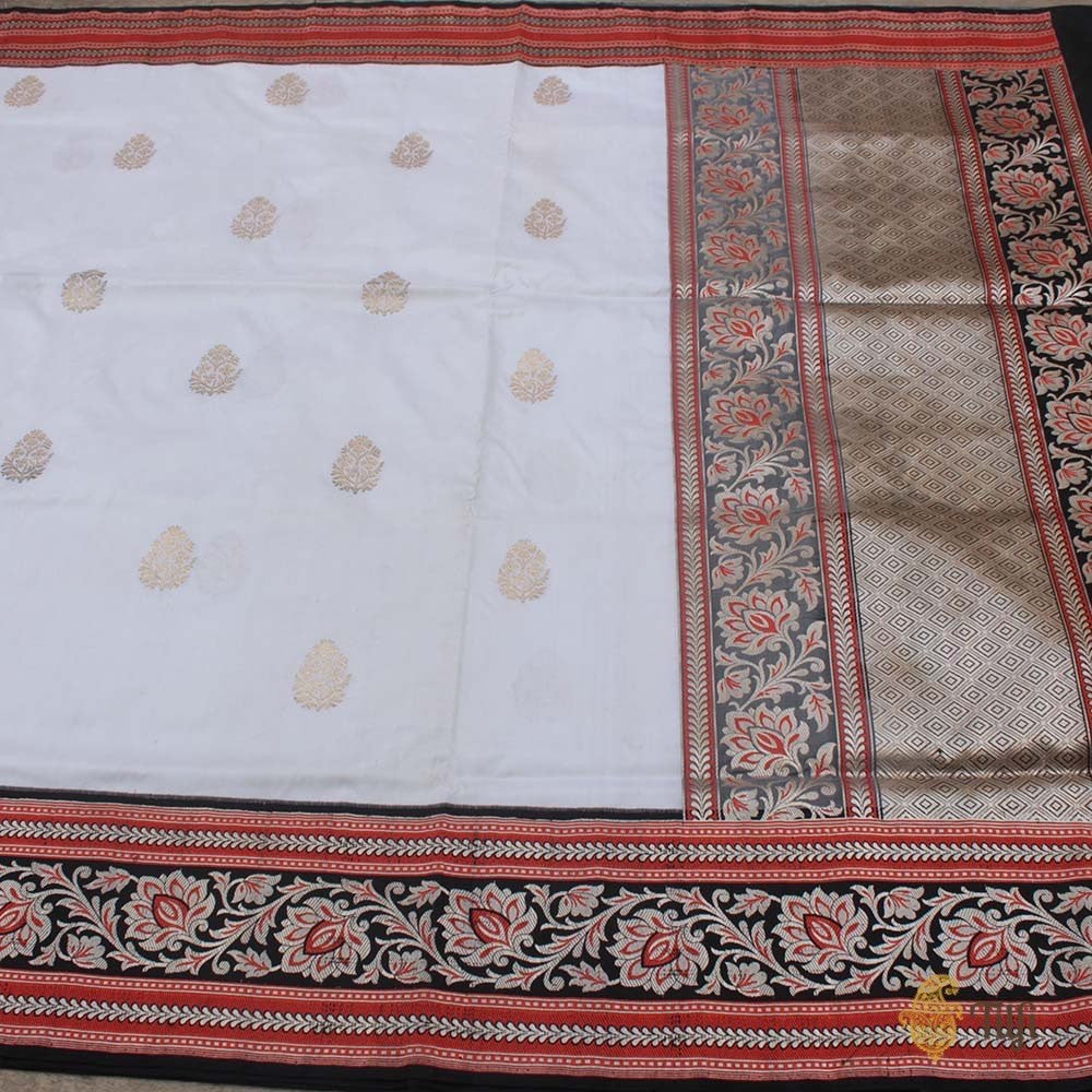 White-Black Pure Katan Silk Banarasi Handloom Saree