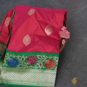 Indian Pink-Orange Pure Katan Silk Banarasi Handloom Saree