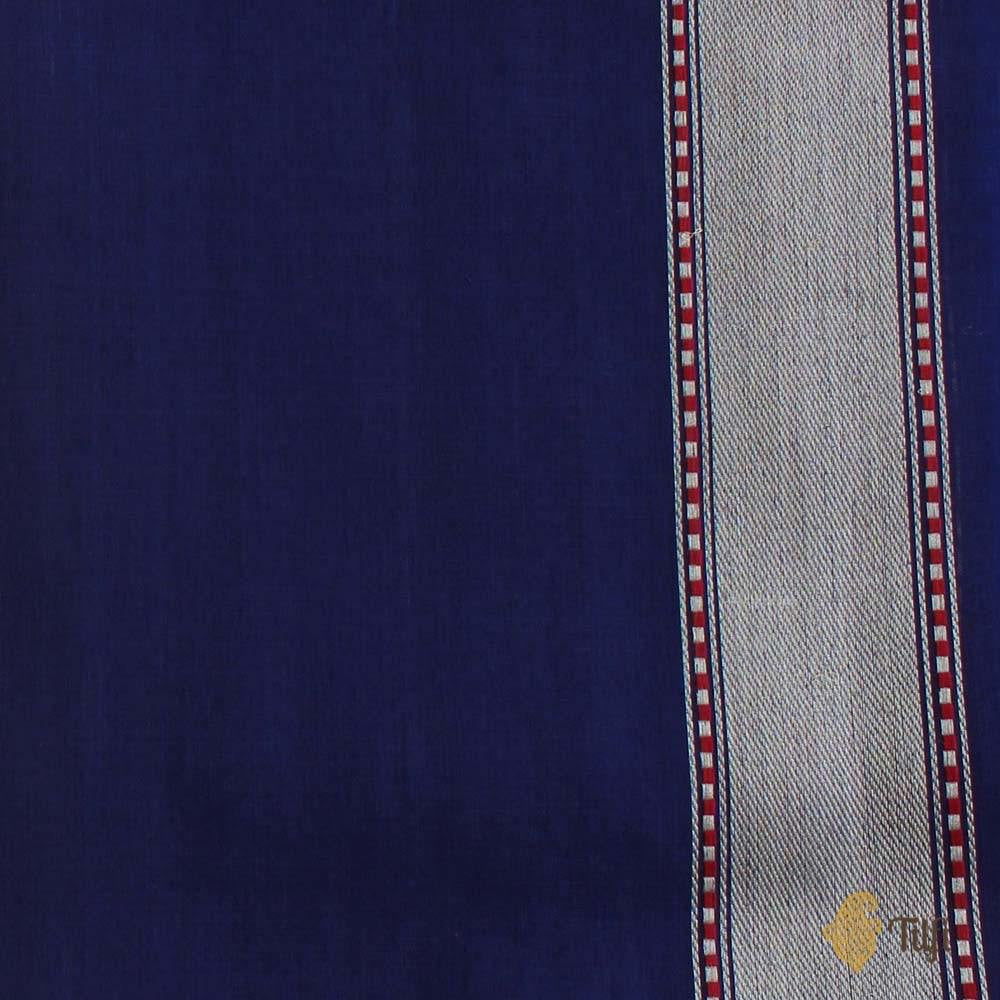 Navy Blue Pure Cotton Banarasi Handloom Saree