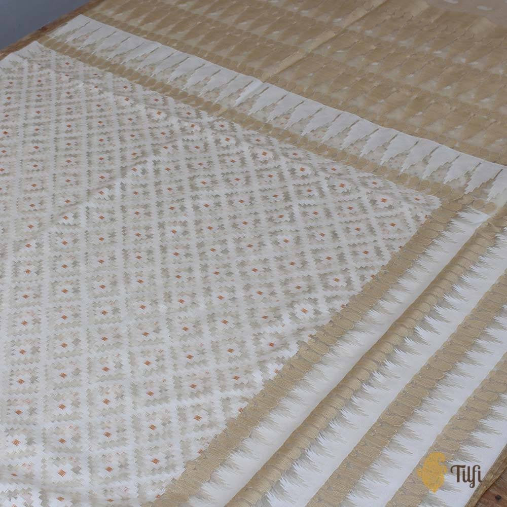 Off-White Pure Kora Silk Net Banarasi Handloom Saree